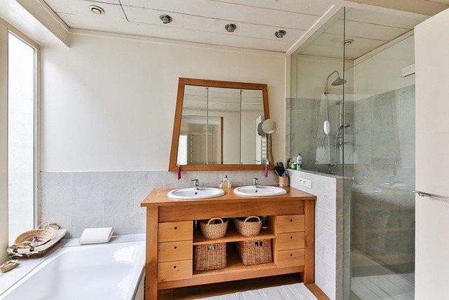 Glass Shower in modern bathroom